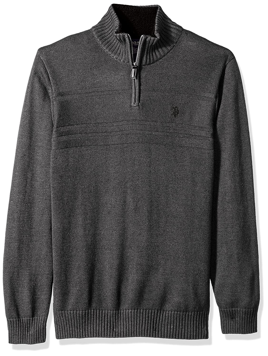 U.S. Polo Assn. Men's Solid Texture Chest Stripe 1/4 Sweater, ACUF7S5790