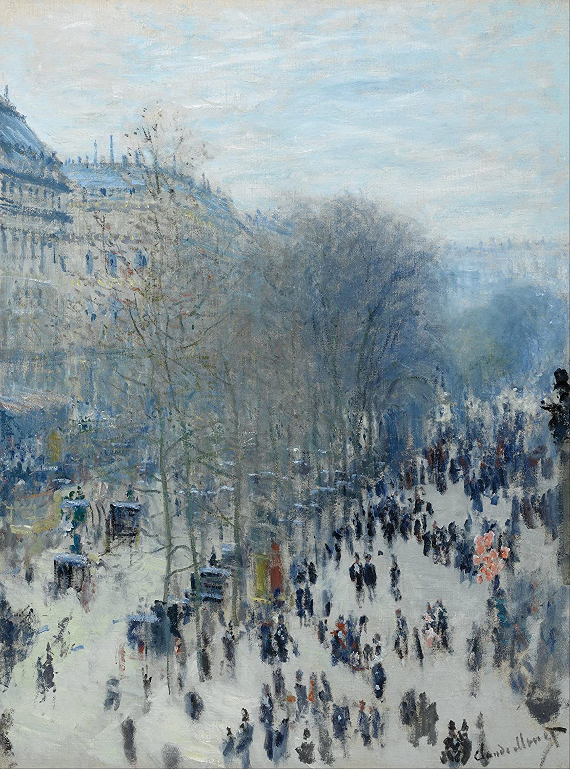Boulevard des Capucines Claude Monet - Poster Canvas Art print A4 A3 A2 A1 new best and cheap (A1 Canvas (20/30)) Black Creations