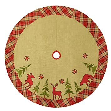 48quot Burlap Lodge Christmas Tree Skirt With Plaid Border Applique Embroidery Moose