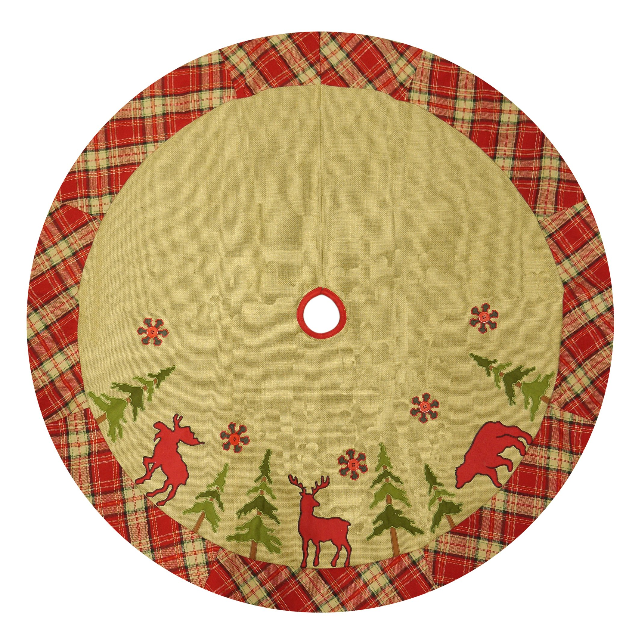 48'' Burlap Lodge Christmas Tree Skirt with Plaid Border, Applique & Embroidery, Moose/Deer/Bear
