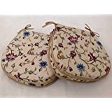 """A SET OF 4 FLORAL PATTERN CHAIR SEAT PADS ( For Seats Approx.14""""x14"""")"""