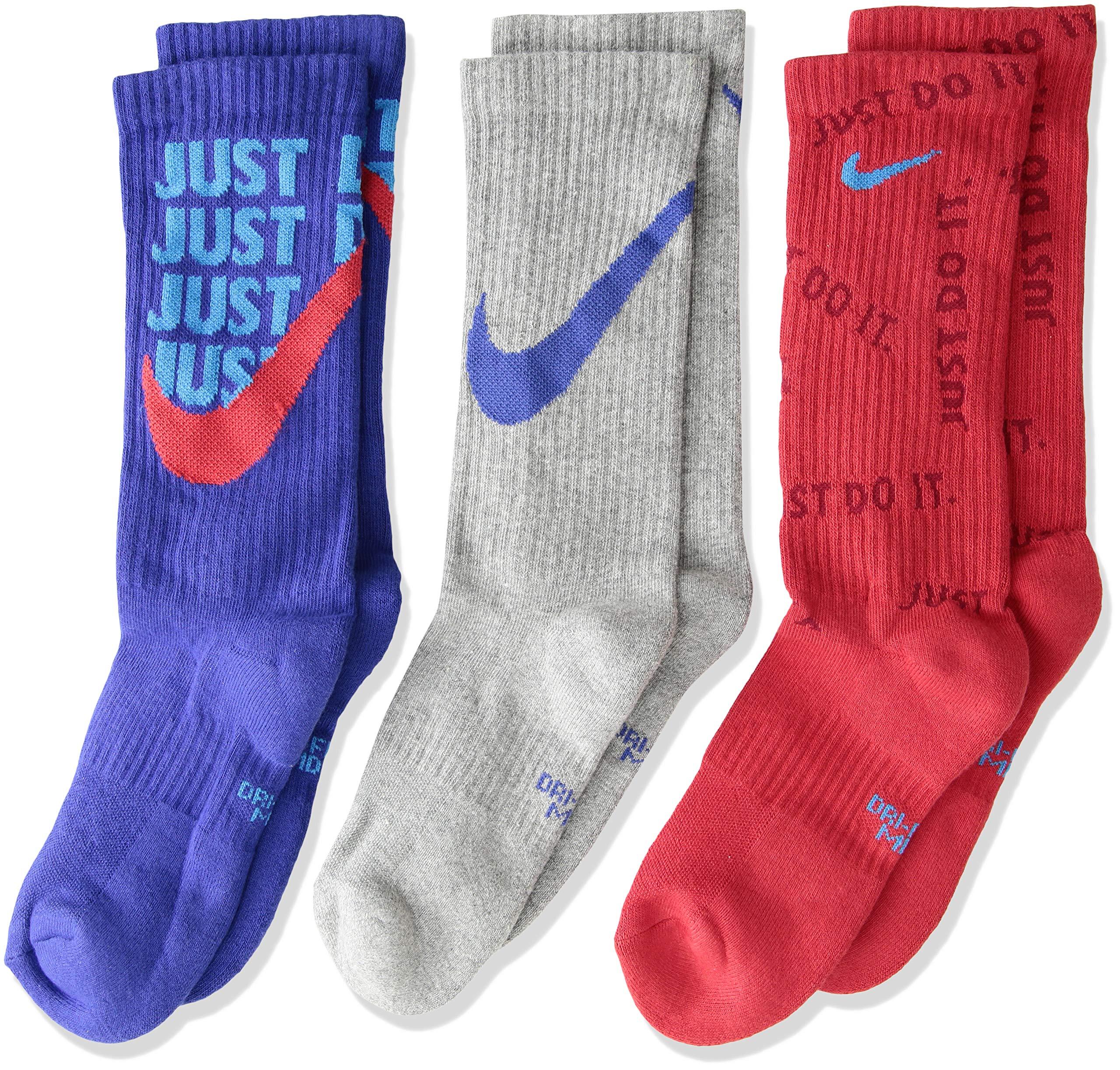 Nike Boy's Cushioned 3PK Crew Socks (M (5Y-7Y), Red/Grey/Blue)