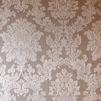 Arthouse Feuille D Or Rose De Damas Papier Peint 294400 Vinyle