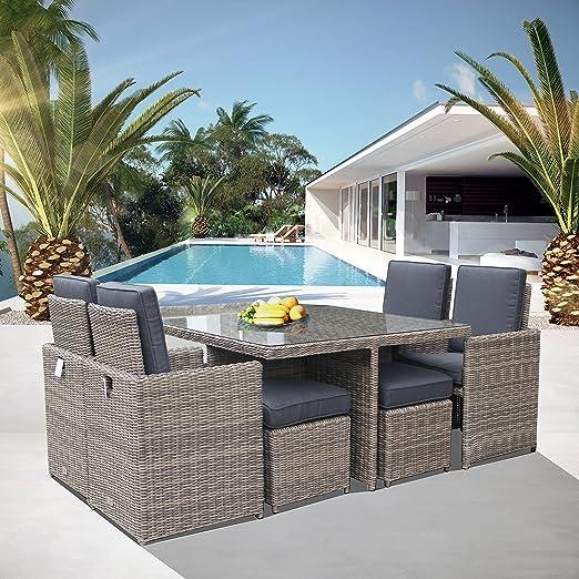 Luxurygarden – Mesa de jardín con sillas de ratán Cuadrada Set de ...