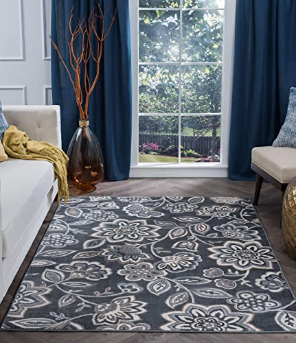 Emmalyn Transitional Floral Gray Rectangle Area Rug, 9 x 12.6