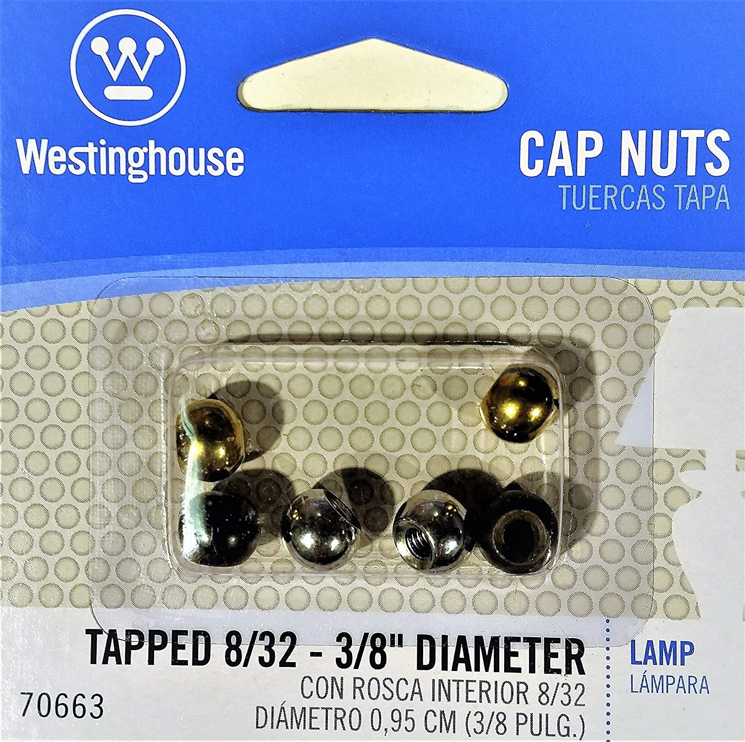 Assorted Westinghouse 70663 Lamp Cap Nuts Tapped 8//32-3//8in Diameter