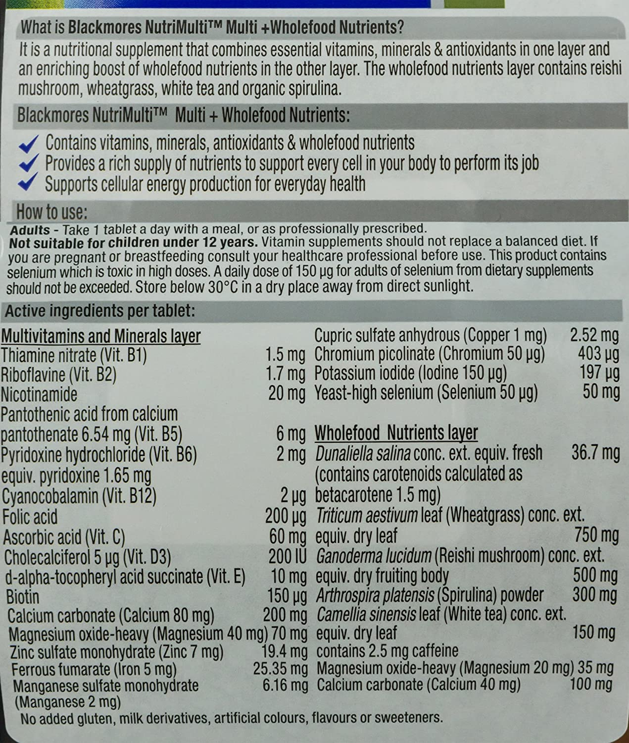 Blackmores Nutrimulti 100tabs Health Personal Care 100