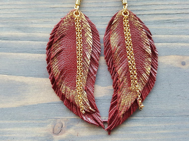 Blue feather earrings Bohemian earrings Long feather earrings Boho earrings Leather feather earrings Royal blue earrings Leather earrings
