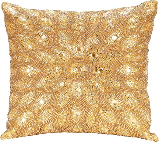 Light Pro Hand Beaded Decorative Pillow Cover 12 X12 Gold Handwoven Pillow Handmade By Skilled Artisans A Beautiful And Elegant Accessory To Dress Up Your Couch Sofa And Bed
