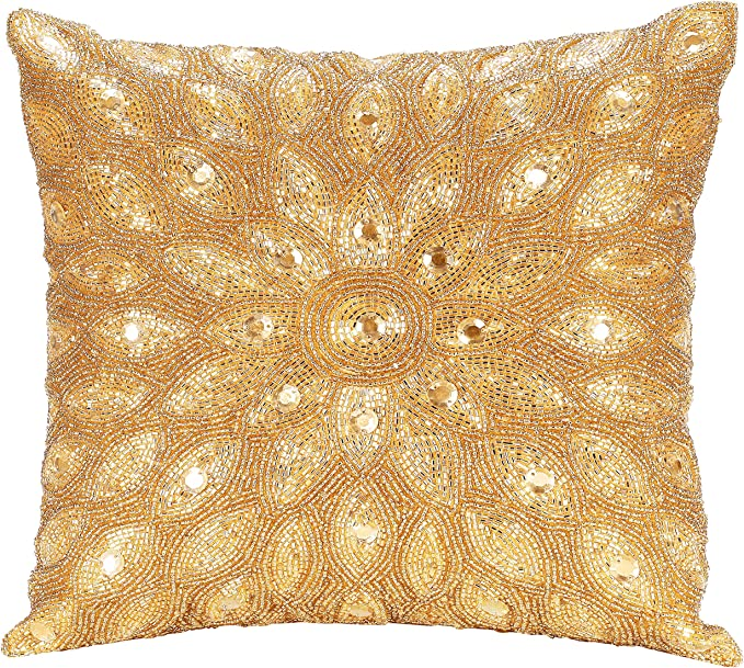 Light Pro Hand Beaded Decorative Pillow Cover 12 X12 Gold Handwoven Pillow Handmade By Skilled Artisans A Beautiful And Elegant Accessory To Dress Up Your Couch Sofa And Bed Only Cover Home Kitchen Amazon Com