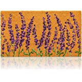 Lavender Plant Welcome Mat, Natural Coir Doormat (30 x 17.2 x 0.5 in)