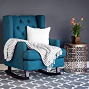 Best Choice Products Tufted Upholstered Wingback Rocking Accent Chair Rocker for Living Room, Bedroom w/Wood Frame - Blue Teal