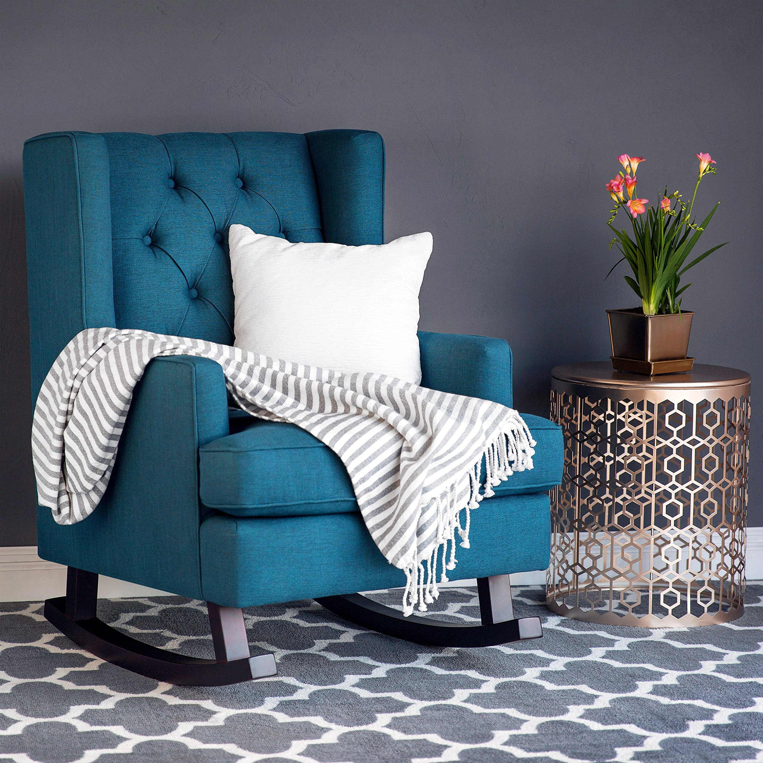 Best Choice Products Tufted Upholstered Wingback Rocking ...