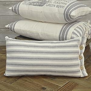"Market Place Gray Ticking Stripe Pillow Cover, 12"" x 20"", Farmhouse Décor Grey & Cream w/ Buttons"