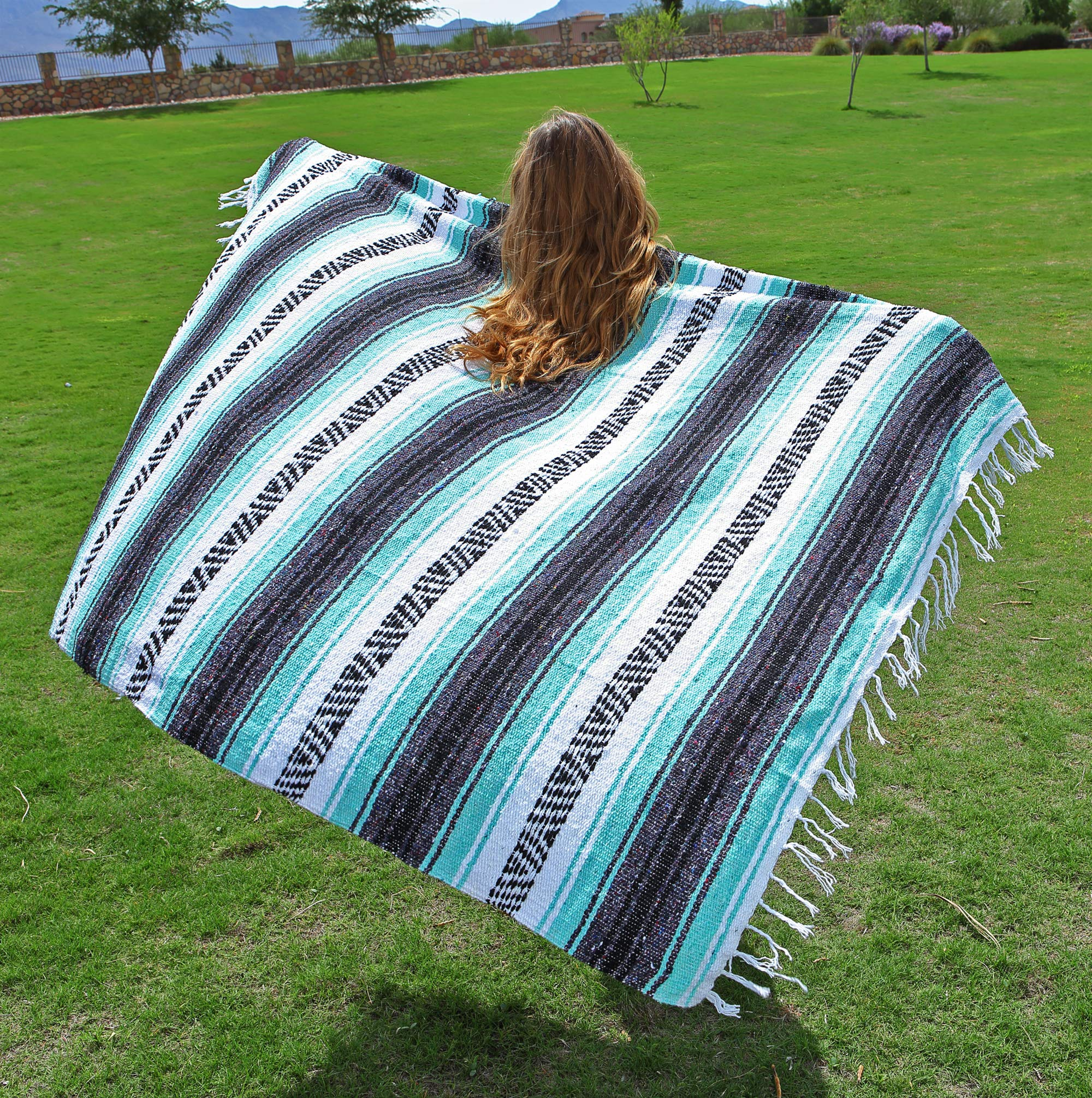 El Paso Designs Genuine Mexican Falsa Blanket - Yoga Studio Blanket, Colorful, Soft Woven Serape Imported from Mexico (Cool Mint & Gray) by El Paso Designs (Image #4)