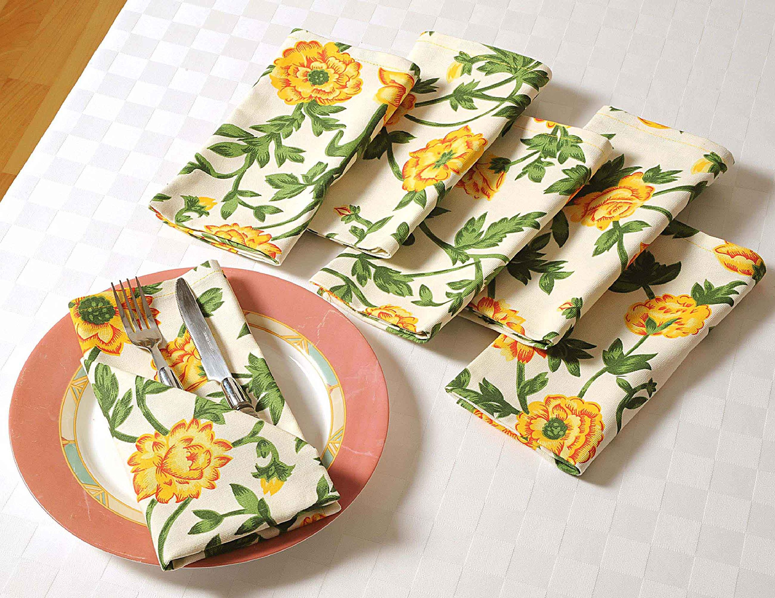 ShalinIndia Floral Spring Cotton Drink Beverage Cloth Napkins - 10'' x 10'' - Set of 100 Premium Table Linens for Weddings & Parties - Cream, Yellow and Green Rose by ShalinIndia