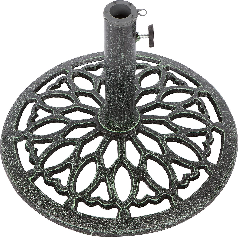 Trademark Innovations Cast Iron Umbrella Base -17.5 Inch Diameter Green