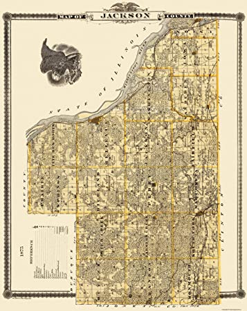 Jackson County Iowa Map.Amazon Com Old County Map Jackson Iowa Landowner Shober 1875