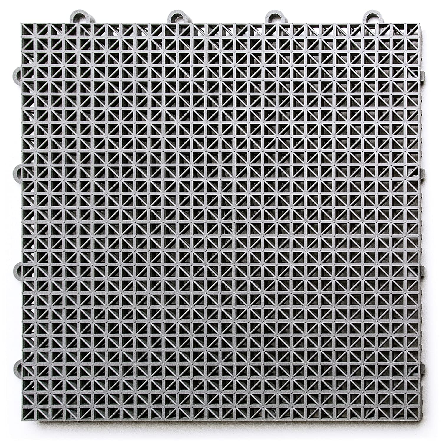 DuraGrid, Gray DT24GRAY Outdoor Modular Interlocking Multi-Use Deck Tile (24 Pack), 24 Piece