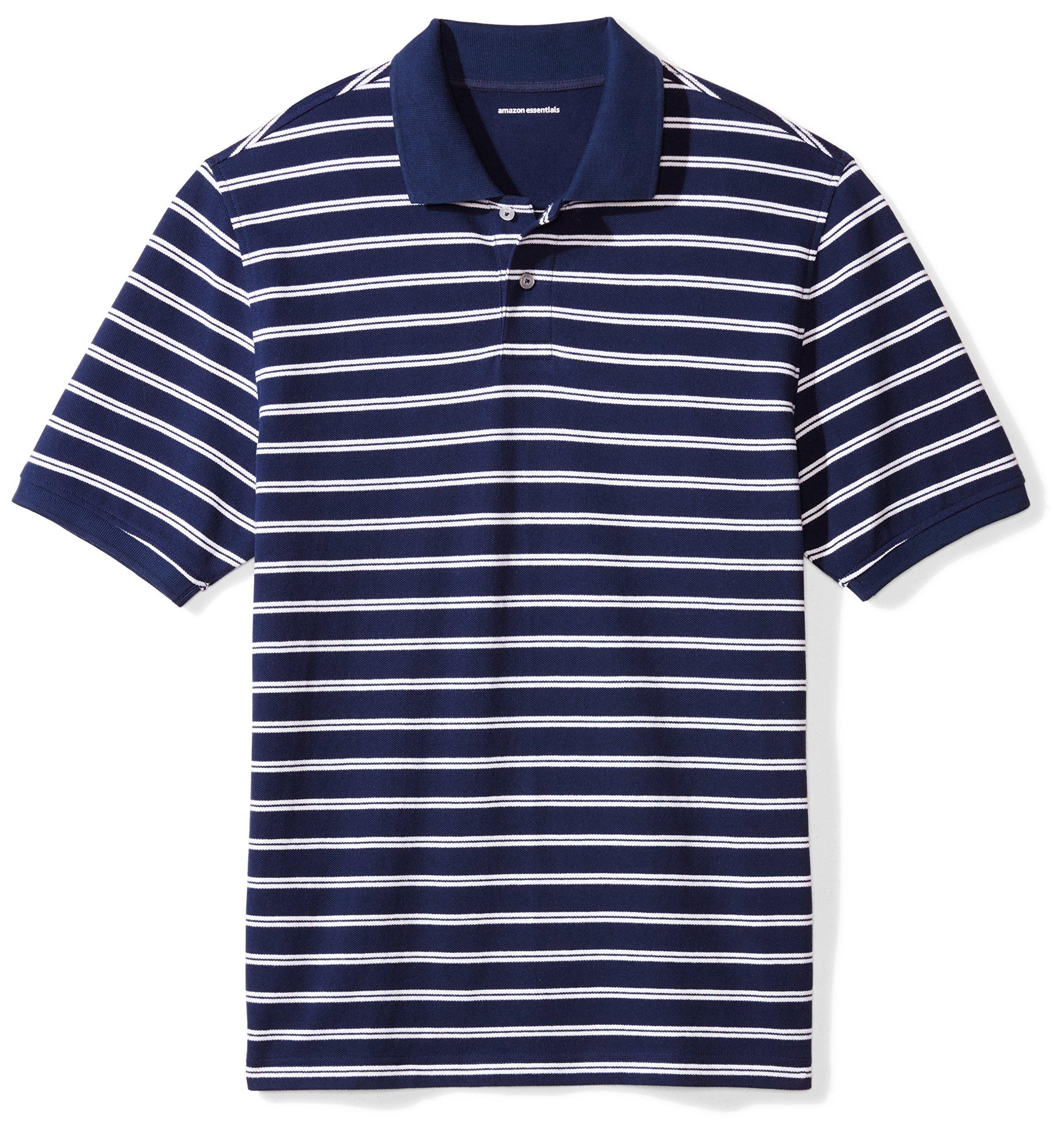 Amazon Essentials Men's Regular-Fit Striped Cotton Pique Polo Shirt, Navy/White Stripe, X-Large