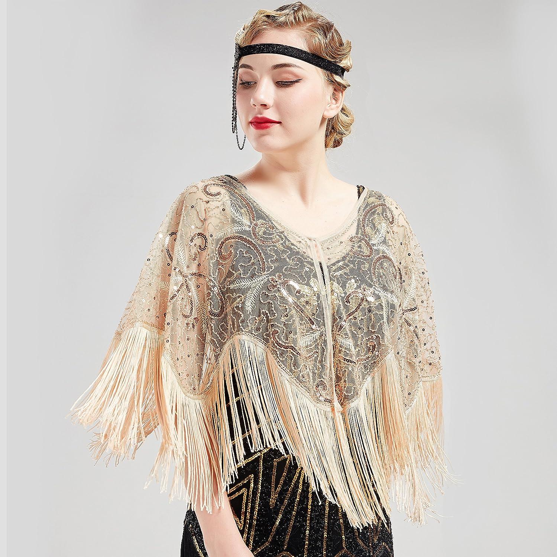 Shawls & Wraps | Fur Stole, Lace, Fringe BABEYOND 1920s Shawl Wraps Gatsby Beaded Evening Cape Bridal Shawl for Evening Dresses Wedding Party $23.99 AT vintagedancer.com