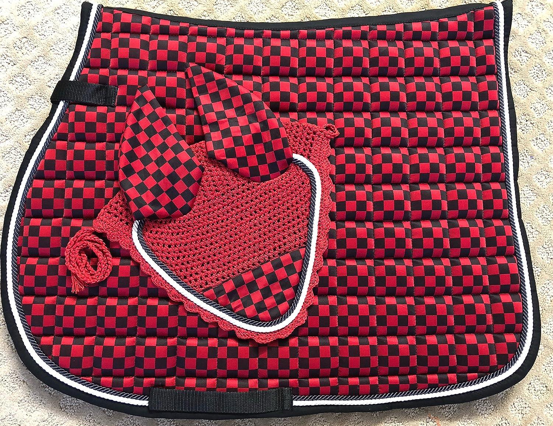 リフトスポーツ新しいHorse英語サドルパッドセットMatching Fly Bonnetベール耳NetポリエステルHand Madeかぎ針編みフルサイズEquestrian Showsタック B07CXZX8VS