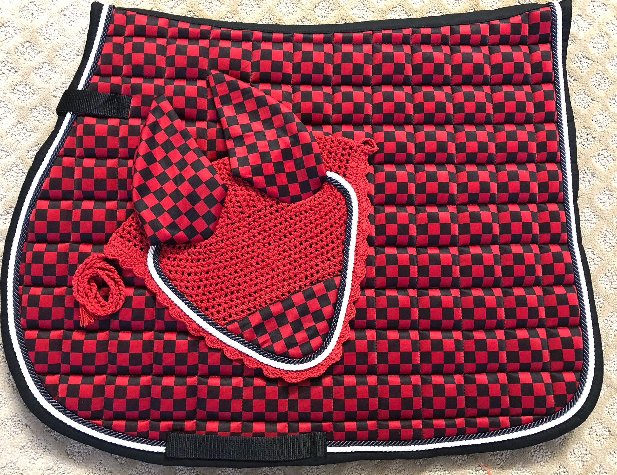 Lift Sports New Horse English Saddle Pad Set Matching Fly Bonnet Veil Ear Net Polyester Hand Made Crochet Full Size Equestrian Shows Tack by Lift Sports