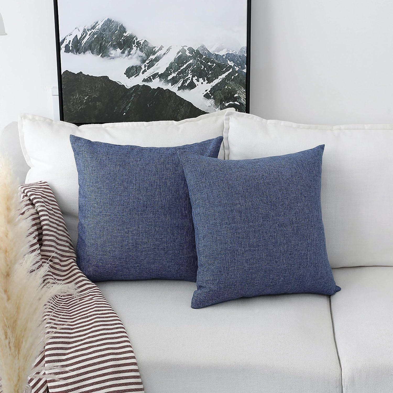 18x18 Inches HBLINCC107 45cm Light Linen HOME BRILLIANT Decoration Linen Burlap Decor Square Throw Cushion Cover Pillow Sham for Living Room