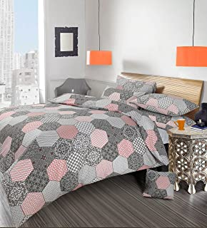 Double Bed Duvet / Quilt Cover Bedding Set Printed Modern Retro Stylish  Grey / Red