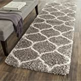 """Safavieh Hudson Shag Collection SGH280B Grey and Ivory Moroccan Ogee Plush Runner (2'3"""" x 8')"""