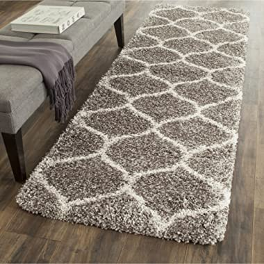 Safavieh Hudson Shag Collection SGH280B Grey and Ivory Moroccan Ogee Plush Runner (2'3  x 8')
