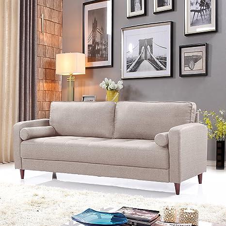 Mid Century Modern Linen Fabric Living Room Sofa (Beige)