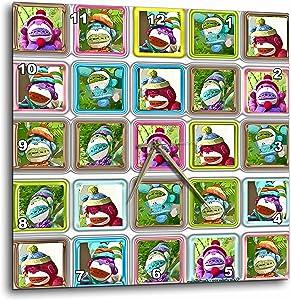 3dRose Lee Hiller Designs Colorful Sock Monkeys - Colorful Sock Monkeys Squares III - 10x10 Wall Clock (DPP_44410_1)