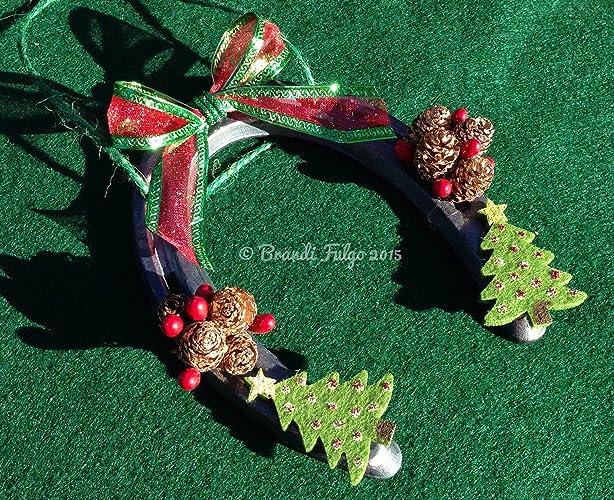 handmade authentic real horseshoe christmas tree ornament western holiday bow mini golden pinecones - Horseshoe Christmas Wreath