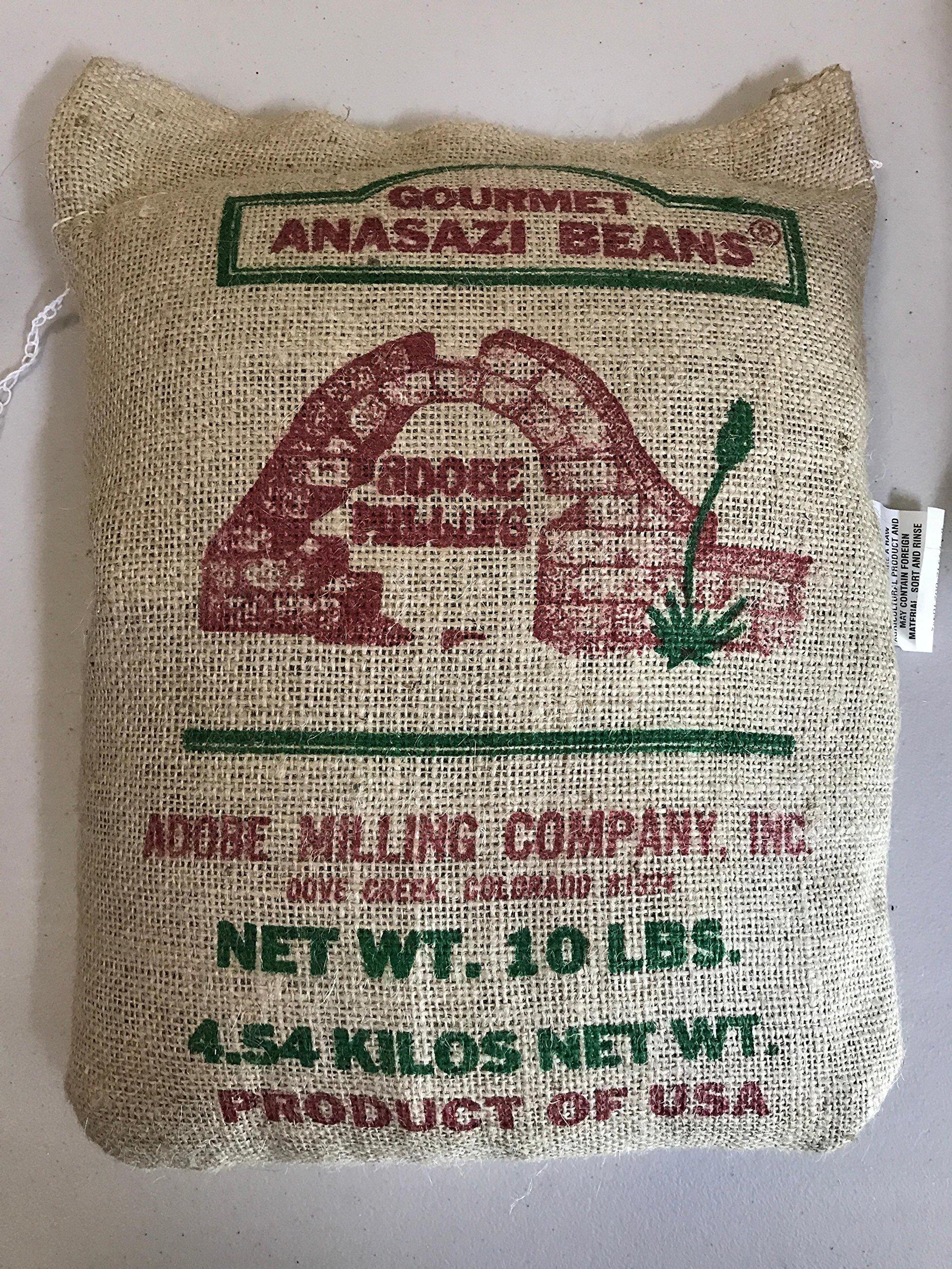 adobe milling Anasazi Beans 10 lb burlap bag by Adobe milling co