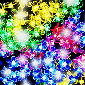50 Multicolour LED Blossom Solar Powered Fairy Lights String