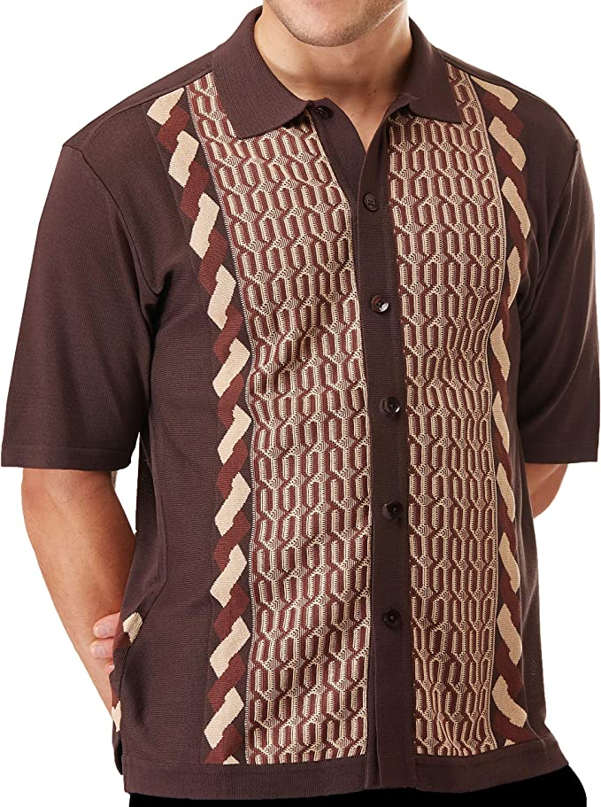 Mens Vintage Shirts – Casual, Dress, T-shirts, Polos Edition S Mens Short Sleeve Knit Shirt- California Rockabilly Style: Multi Chain Links Design- 3012 $39.00 AT vintagedancer.com