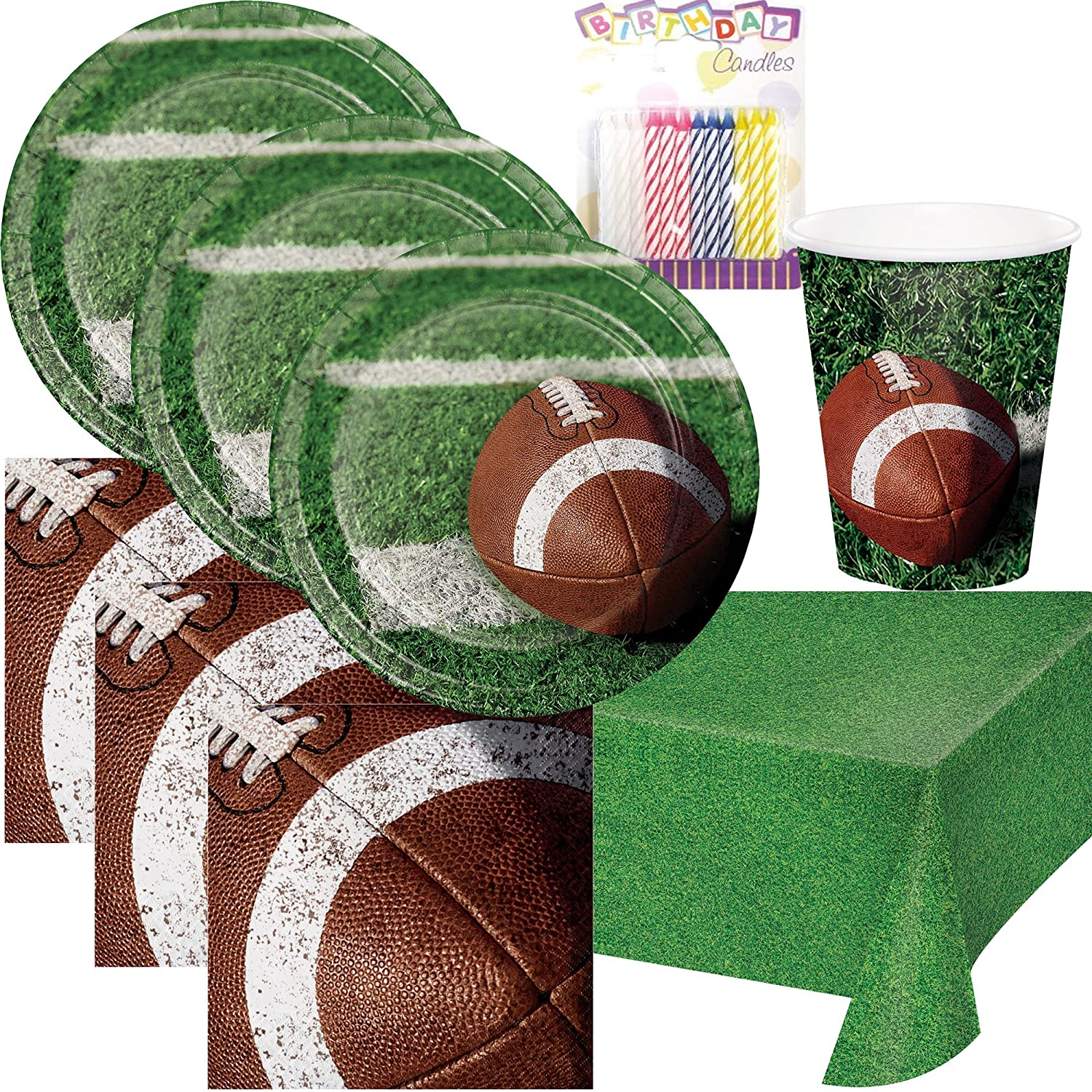 Football Tailgate Rush Party Supplies Pack Plates, Napkins, Cups, Table Cover, and Birthday Candles