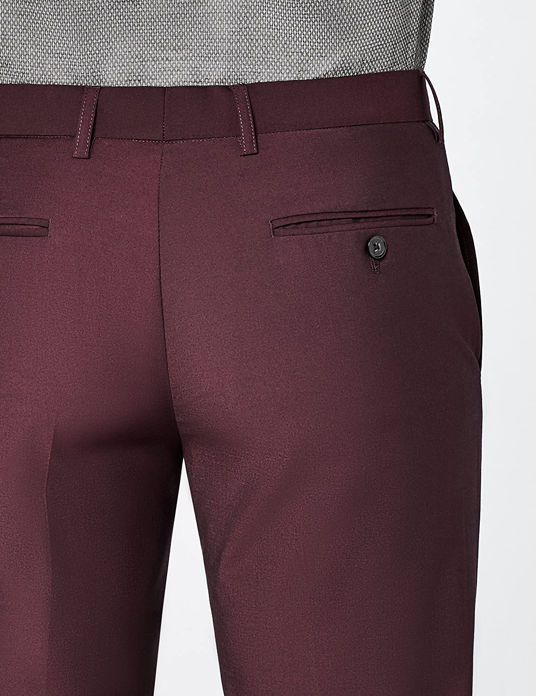 Burgundy W34//L31 Hem /& Seam Mens Slim Fit Tonic Formal Trousers Red