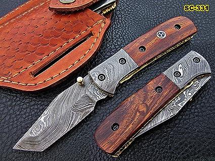 Amazon.com: Cuchillo plegable de Damasco hecho a mano de ...