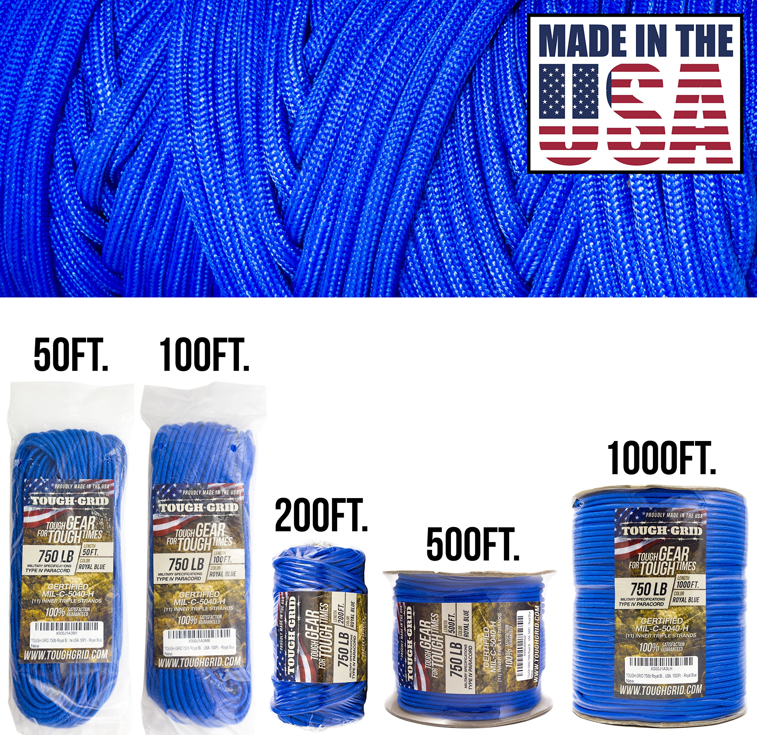 TOUGH-GRID 750lb Royal Blue Paracord/Parachute Cord - Genuine Mil Spec Type IV 750lb Paracord Used by The US Military (MIl-C-5040-H) - 100% Nylon - Made in The USA. 100Ft. - Royal Blue by TOUGH-GRID
