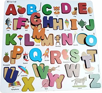 Cryo Craft Wooden Alphabet Puzzle Board with Pictures