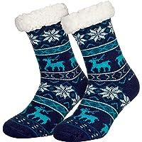 Piarini 1 Paar Kuschelsocken mit ABS Sohle | warme Damen Socken | Wintersocken mit Anti Rutsch Noppen | Schwarz, Rot, Grau, Rosa - One Size