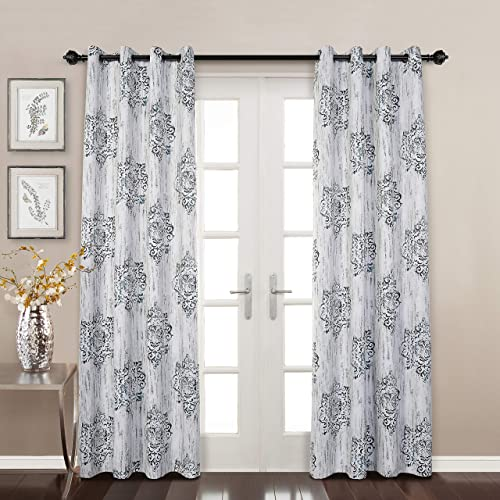 MYSKY HOME Floral Curtains,Dahlia Flower Print Design Soft Damask Rustic Curtain Panel Thermal Insulated Blackout Curtains for Bedroom,Living Room with Grommet Top,52 x 95 ,Blue,1 Panel