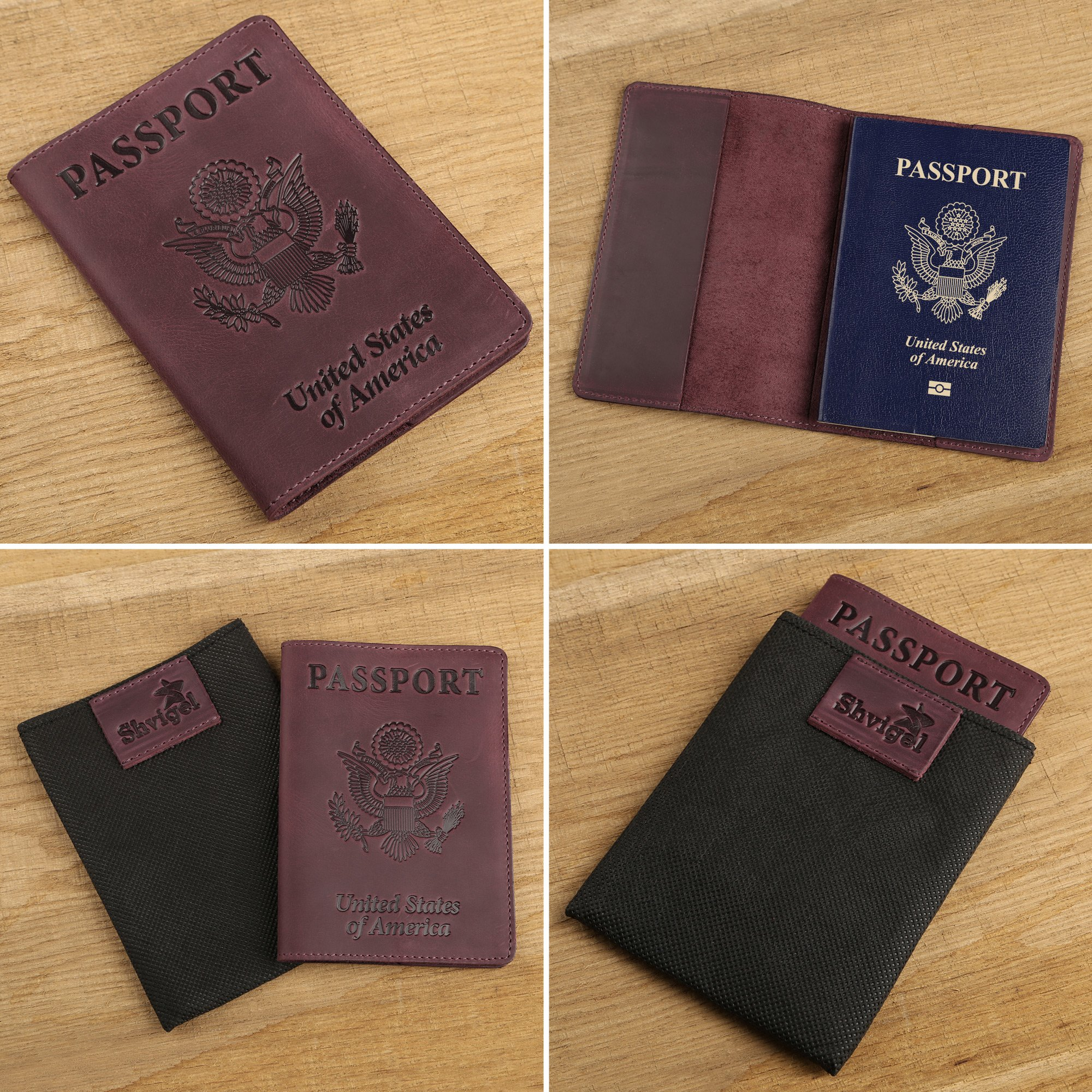 Shvigel Leather Passport Cover - Holder - for Men & Women - Passport Case (Maroon Vintage) by Shvigel (Image #5)