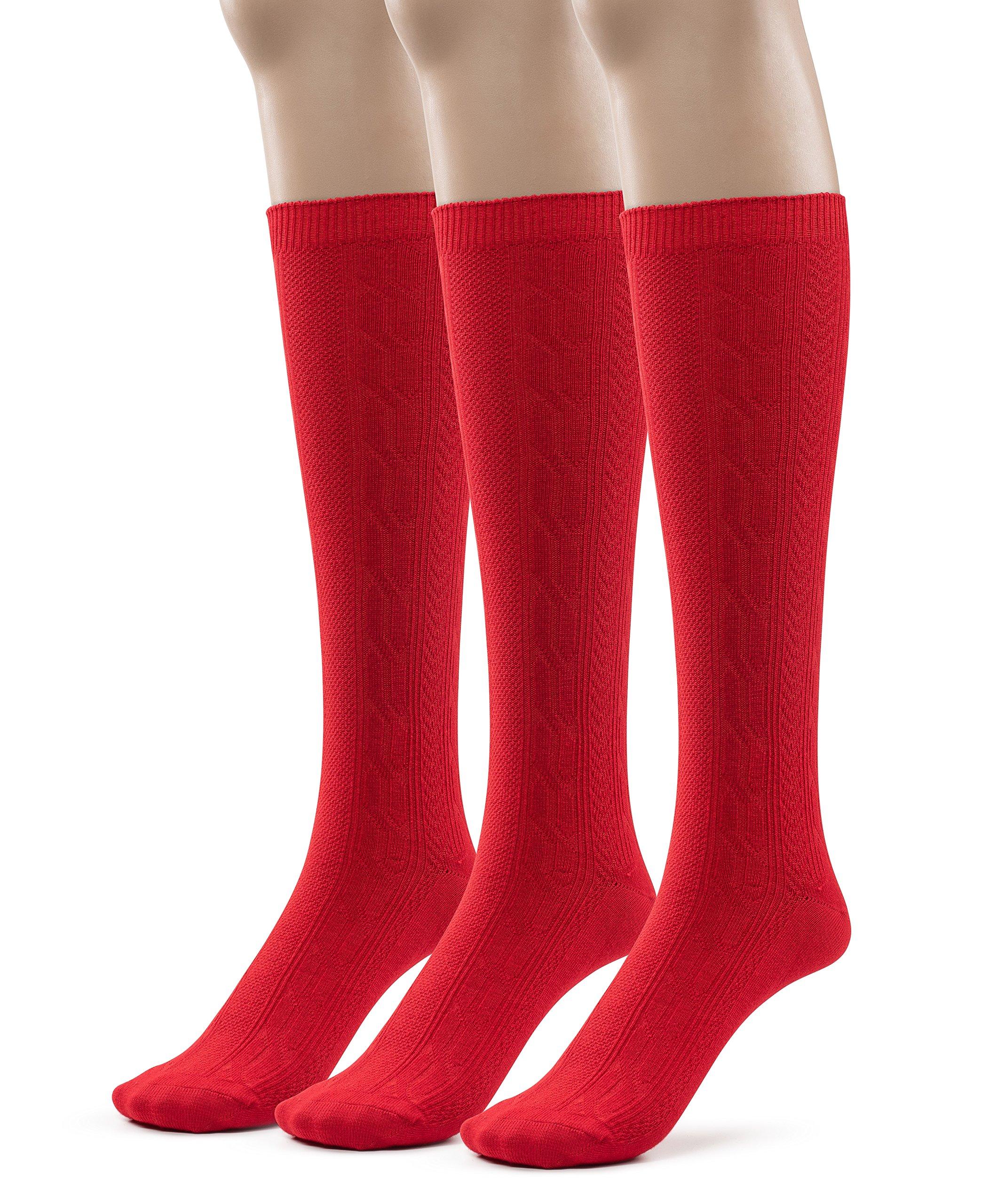 Girls Bamboo Casual Knee High Socks, School Uniform Colors (Medium (8-9), Red)