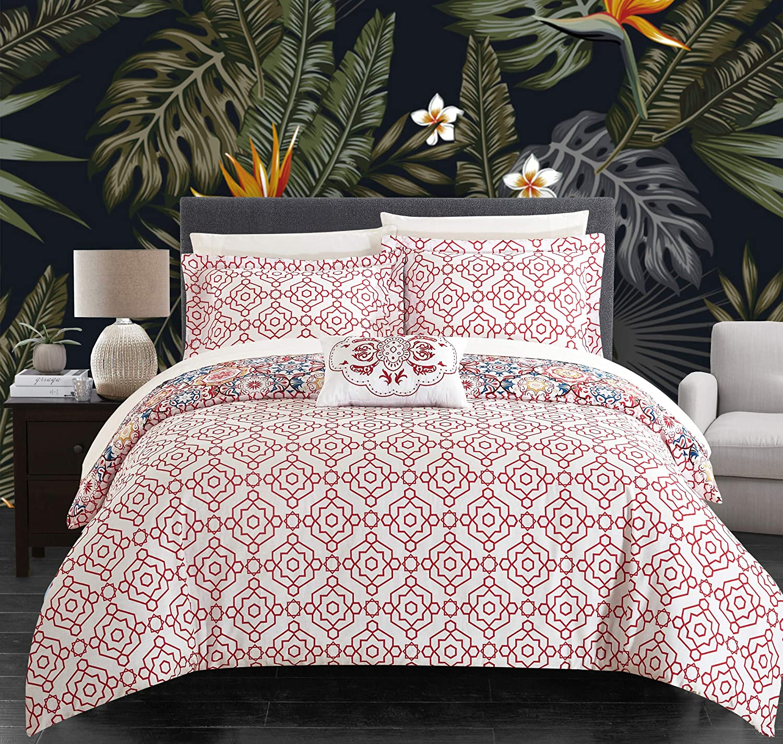 Chic Home Bristol Duvet Cover Set, King, Pink