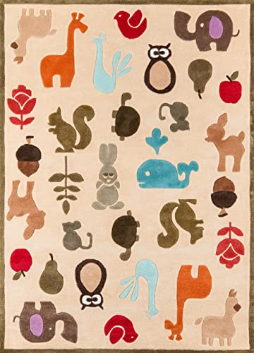 Momeni Rugs Lil Mo Whimsy Collection, Kids Themed Hand Carved Tufted Area Rug, 4 x 6 , Multicolor Animals on Ivory