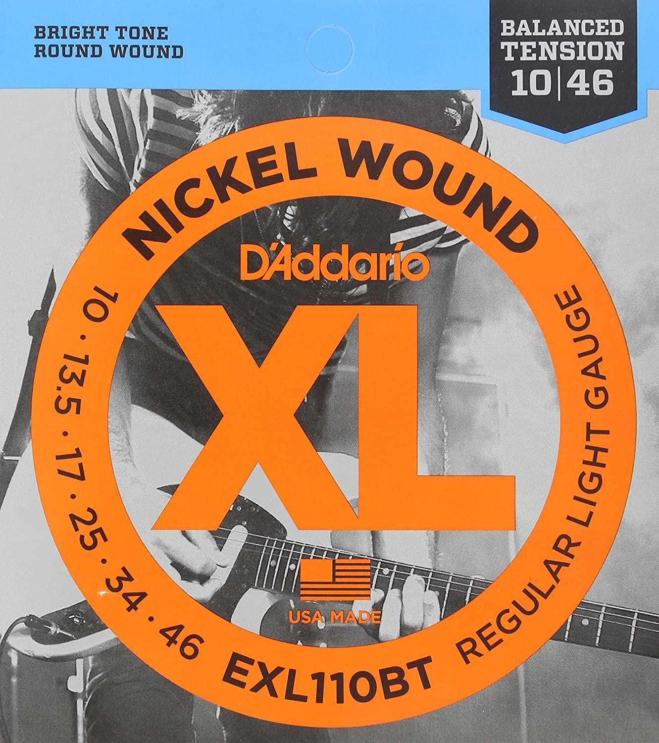 D'Addario EXL110BT Nickel Wound Electric Guitar Strings, Balanced Tension Regular Light, 10-46 D' Addario