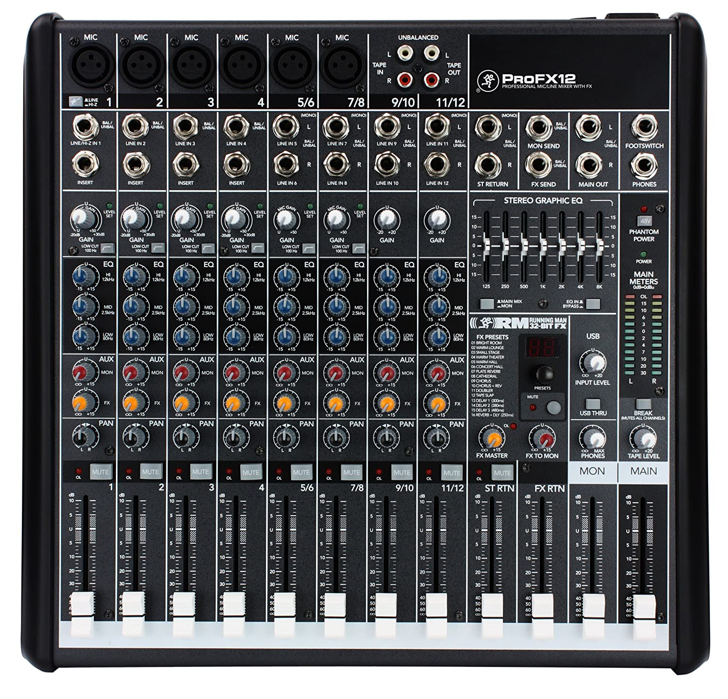 Mackie PROFX12 12-Channel Compact Effects Mixer with USB Loud Technologies Inc. 69811-B